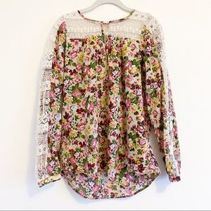 Roper 100% Cotton Floral Top With Crochet Lace